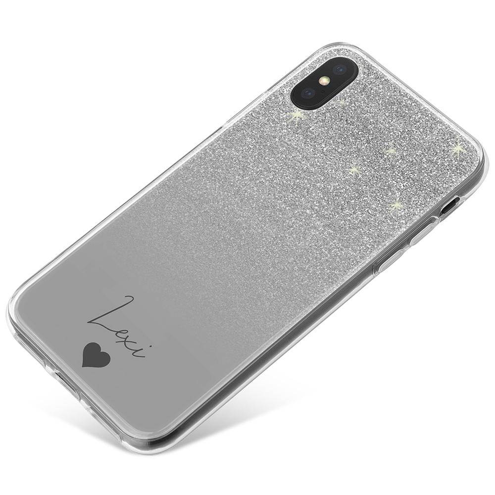 Silver Glitter Effect phone case available for all major manufacturers including Apple, Samsung & Sony