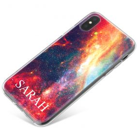 Vibrant Red Galaxy Design phone case available for all major manufacturers including Apple, Samsung & Sony