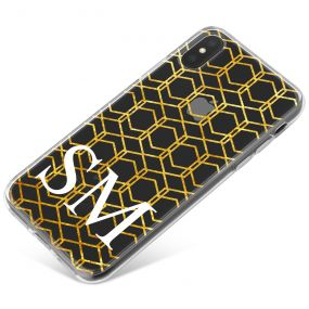 Gold isometric pattern on a clear case phone case available for all major manufacturers including Apple, Samsung & Sony