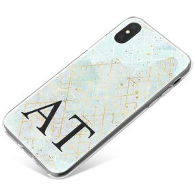 Ice blue Marble & Gold Pattern phone case available for all major manufacturers including Apple, Samsung & Sony