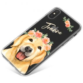 Golden Labrador with Flowers phone case available for all major manufacturers including Apple, Samsung & Sony