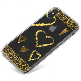 Transparent with Gold Borders and Gold Love Hearts phone case available for all major manufacturers including Apple, Samsung & Sony