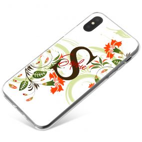White with Flowers, Initial and Name phone case available for all major manufacturers including Apple, Samsung & Sony