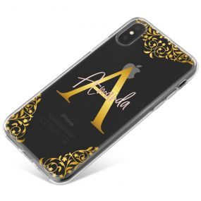 Transparent with Gold Initial and Gold Tri-borders phone case available for all major manufacturers including Apple, Samsung & Sony