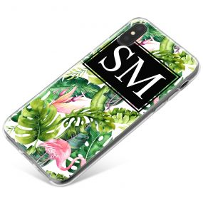 Green Leaves and a Pink Flamingo phone case available for all major manufacturers including Apple, Samsung & Sony
