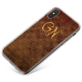 Gold Spiderwebs on a Brown Leather effect background with Gold text phone case available for all major manufacturers including Apple, Samsung & Sony