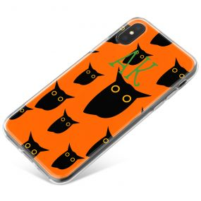 Black Owls on a Bright Orange Background with Green writing phone case available for all major manufacturers including Apple, Samsung & Sony