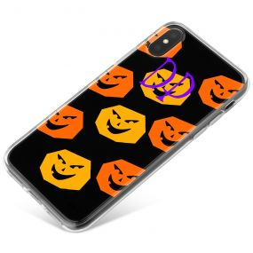 Orange and Yellow Pumpkins on a black background with purple text phone case available for all major manufacturers including Apple, Samsung & Sony