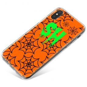 Black spiderwebs on Orange background and Bright Green Text phone case available for all major manufacturers including Apple, Samsung & Sony