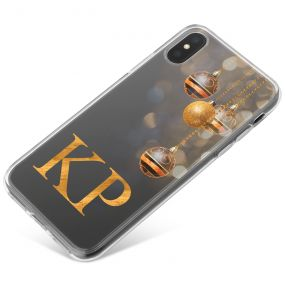 Baubles with Golden Bokeh on a Grey Background phone case available for all major manufacturers including Apple, Samsung & Sony