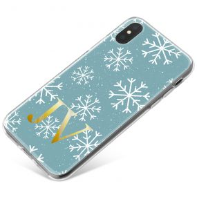 White Snowflakes on A Cool Blue Background with Gold Text phone case available for all major manufacturers including Apple, Samsung & Sony