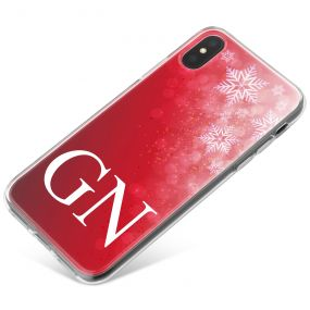 Deep Red Background with Beautiful White Snowflakes in the corner phone case available for all major manufacturers including Apple, Samsung & Sony