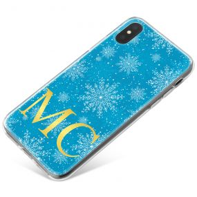 Ice Blue Background with Crystal Snowflakes and Gold Text phone case available for all major manufacturers including Apple, Samsung & Sony