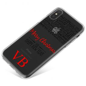 Transparent Background with Christmas Greetings and Red Initials phone case available for all major manufacturers including Apple, Samsung & Sony