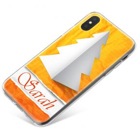 White Paper Christmas Tree with Warm Orange Background phone case available for all major manufacturers including Apple, Samsung & Sony