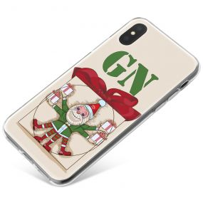 Perfect Christmas Elf and Red Ribbon on Khaki Beige Background phone case available for all major manufacturers including Apple, Samsung & Sony