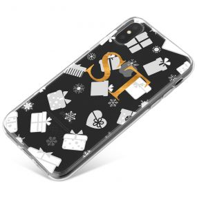 Clear Background with White and Silver Christmas Gifts Pattern phone case available for all major manufacturers including Apple, Samsung & Sony