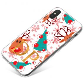 Rudolph and Christmas Tree Pattern with Red Snowflakes on a White Backgroun phone case available for all major manufacturers including Apple, Samsung & Sony