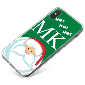 Funny Santa with Glasses and Ho Ho Ho on Green Background phone case available for all major manufacturers including Apple, Samsung & Sony