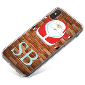 Funny Santa Claus with Glasses Stuck in Chimney phone case available for all major manufacturers including Apple, Samsung & Sony