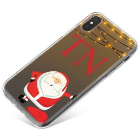 Funny Santa Claus Waiting and Fairy Lights on Brown Background phone case available for all major manufacturers including Apple, Samsung & Sony
