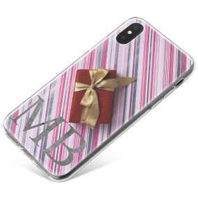 Christmas Present on Candy Stripped Background phone case available for all major manufacturers including Apple, Samsung & Sony