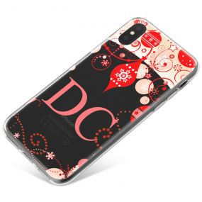 Transparent Background with Red Baubles and Christmas Decorations phone case available for all major manufacturers including Apple, Samsung & Sony