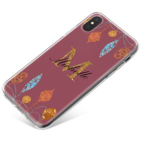 Christmas Baubles on Burgundy Background phone case available for all major manufacturers including Apple, Samsung & Sony