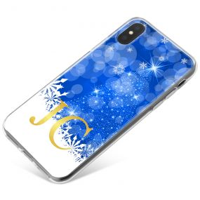 Sparkling Christmas Tree Silhouette with White and Blue Design phone case available for all major manufacturers including Apple, Samsung & Sony