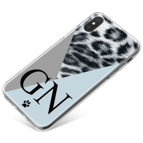 Snow Leopard With Geometric Triangles phone case available for all major manufacturers including Apple, Samsung & Sony