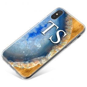 Blue Silver And Golden Geode phone case available for all major manufacturers including Apple, Samsung & Sony
