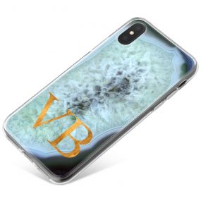 Silver And Dark Blue Geode phone case available for all major manufacturers including Apple, Samsung & Sony