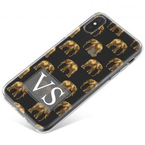 Transparent with Golden Repeating Elephant Pattern phone case available for all major manufacturers including Apple, Samsung & Sony