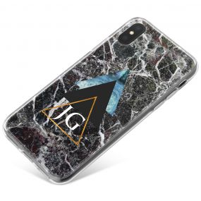 Dark Marble With Geometric Triangles phone case available for all major manufacturers including Apple, Samsung & Sony