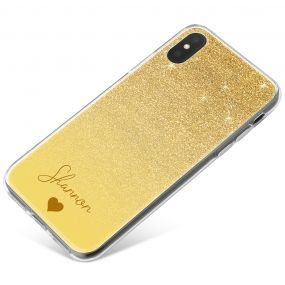 Golden Glitter Effect phone case available for all major manufacturers including Apple, Samsung & Sony