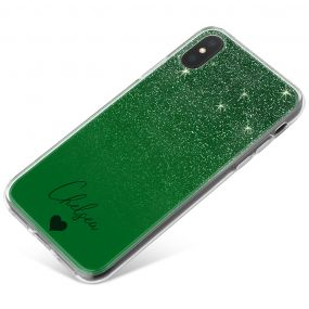 Green Glitter Effect phone case available for all major manufacturers including Apple, Samsung & Sony