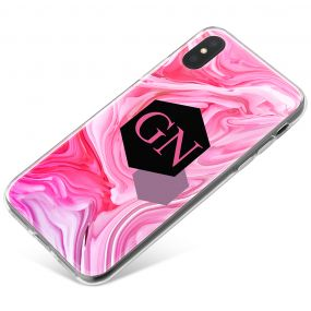 Pink And Purple Marbled Ink With Geometric Banner phone case available for all major manufacturers including Apple, Samsung & Sony