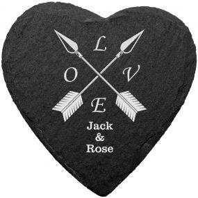 Love Arrows Slate Coaster