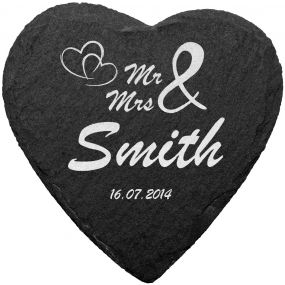 Mr & Mrs Slate Coaster