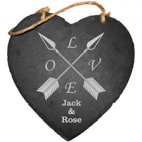 Love Arrows Slate Hanging Sign