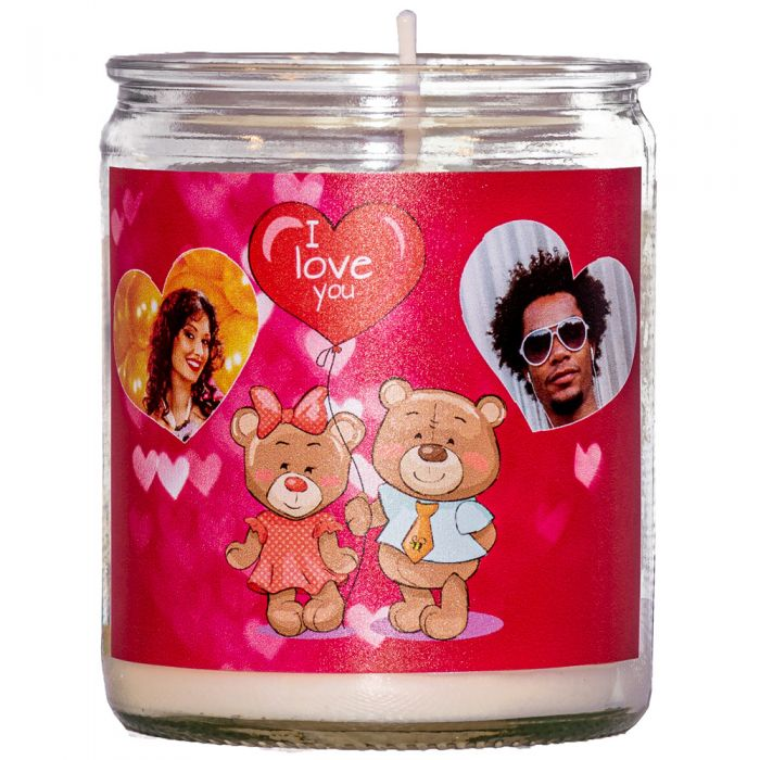 Personalised Love Hearts Unscented Candle