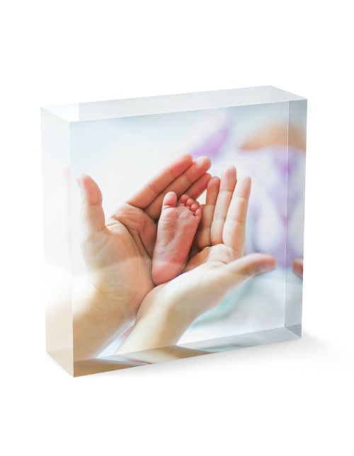 Acrylic Personalised Photo Block - 100x100mm, 20mm thick