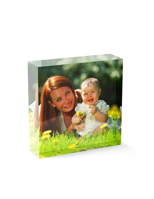 Acrylic Personalised Photo Block - 50x50mm, 20mm thick