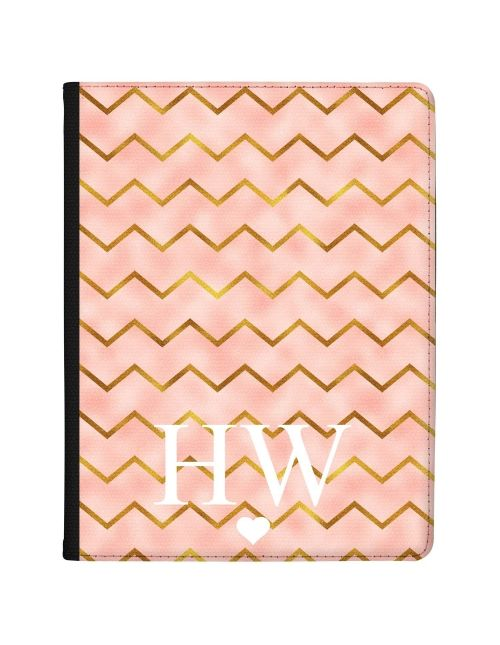 Gold Zigzag pattern on pink Marble tablet case available for all major manufacturers including Apple, Samsung & Sony