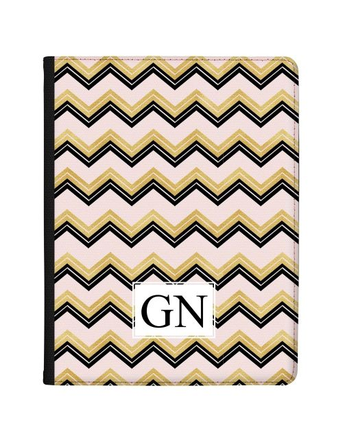 Gold & Black Zigzag pattern on pink Marble tablet case available for all major manufacturers including Apple, Samsung & Sony