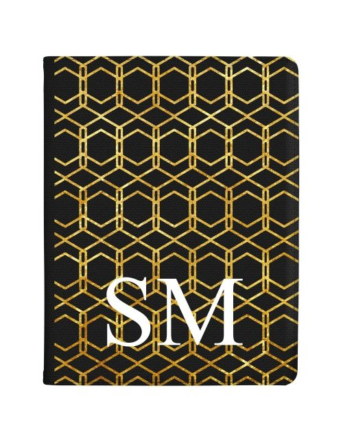 Gold isometric pattern on a clear case tablet case available for all major manufacturers including Apple, Samsung & Sony
