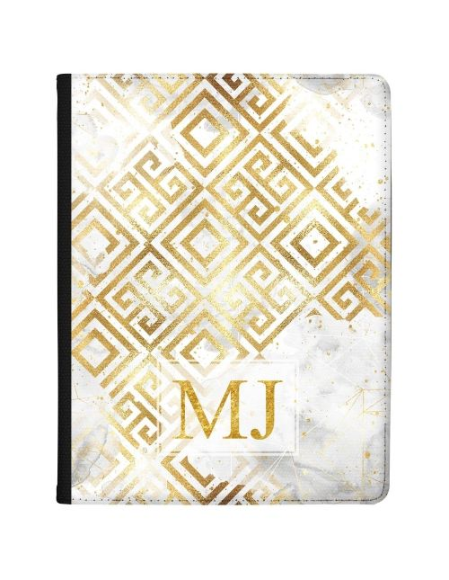 Gold Pattern on white marble tablet case available for all major manufacturers including Apple, Samsung & Sony