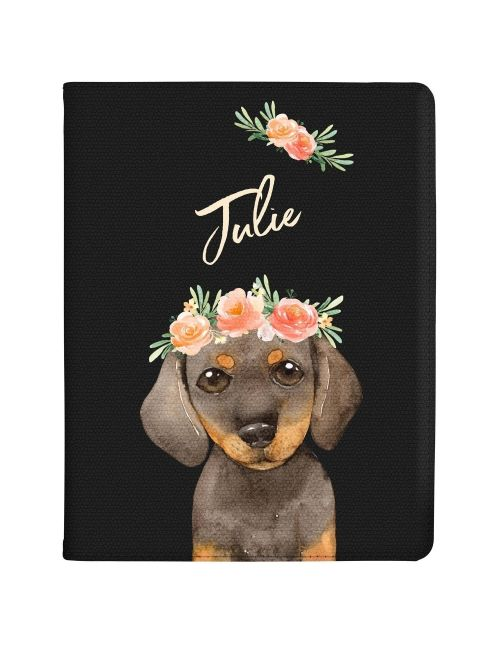 Daschund with Flowers tablet case available for all major manufacturers including Apple, Samsung & Sony