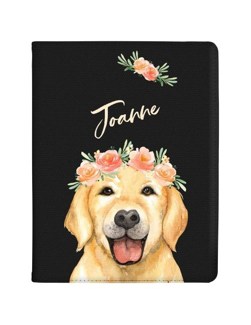 Golden Labrador with Flowers tablet case available for all major manufacturers including Apple, Samsung & Sony