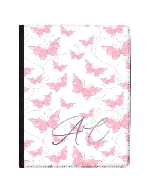 White with Pink Butterflies tablet case available for all major manufacturers including Apple, Samsung & Sony